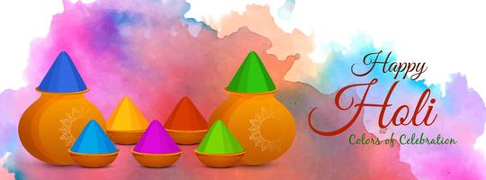 Abstract Happy Holi Indian festival banner vector