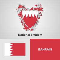 Bahrain National Emblem, Map and flag