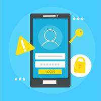 User based security banner. Phone with login box, key, lock. Vector flat illustration