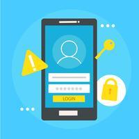 Banner di sicurezza basato sull'utente. Telefono con casella di accesso, chiave, blocco. Illustrazione piatta vettoriale