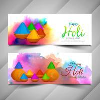 Abstracte Holi-festival kleurrijke geplaatste banners