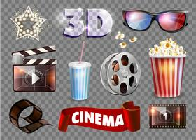 Set of movie objects. Vector illustration.