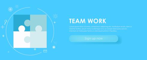 Team work banner. White blue set with painted puzzles. Vector flat illustration