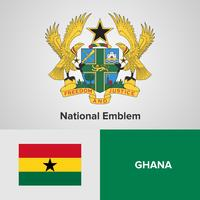 Ghana National Emblem, Map and flag  vector