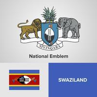 Emblema nacional de Suazilândia, mapa e bandeira