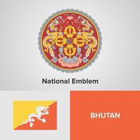 Emblème national du Bhoutan, carte et drapeau
