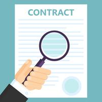 Conclusion of a contract. Viewing text by magnifying glass. Vector flat illustration