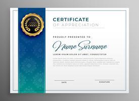 elegante blauwe certificaat van waardering sjabloon