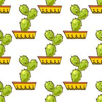 Naadloos patroon van cactussen en succulents in potten.