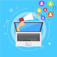 Influencer marketing banner. From the computer comes out a hand with a magnet, calling users. Vector flat illustration