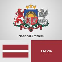 Latvia National Emblem, Map and flag  vector