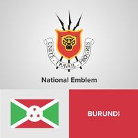 Burundi National Emblem, karta och flagga