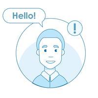 Icono del usuario de las redes sociales que envió un mensaje de saludo. Notificación en internet. Usuario de línea plana vector