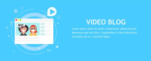 The browser window with the Donate button. Money for videobloggers. Vector flat illustration]