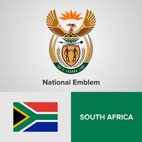 Sydafrikas nationella emblem, karta och flagga