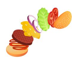 Hamburger with lettuce, onion, cheese, tomato and meat. Flying ingredients of burger. Vector cartoon illustration
