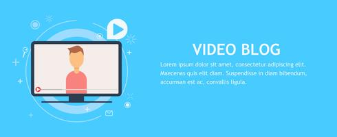 Online video chat with man. Vector flat banner