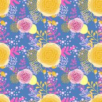 Vintage seamless pattern  hand drawn flowers