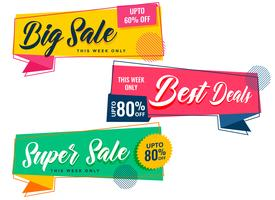 colorful sale banners set in memphis style
