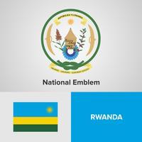 Rwanda National Emblem, karta och flagga