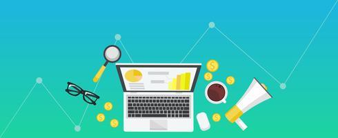 Banner de gradiente de marketing digital. Lugar de trabajo con ordenador portátil, café, papel, dinero Vector ilustración plana