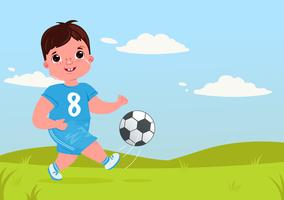 Cute boy girl playing football with a soccer ball. Player's team modern uniform. Healthy activities. Vector cartoon illustration