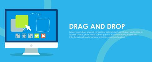Drag and drop banner. Computer with the program and site configuration settings functions. Vector flat illustration