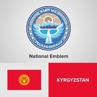 Kyrgyzstan National Emblem, Map and flag