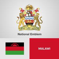 Emblema nazionale del Malawi, mappa e bandiera