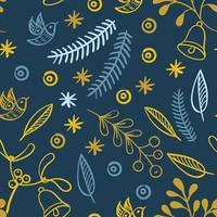 Retro hand drawn winter holidays seamless patterns
