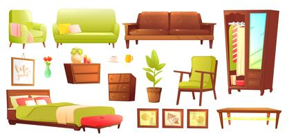 Living or bedroom object set with leather sofa and wooden shelf with frame and books. Stylish furniture - a lamp and a vase and a table. Vector cartoon illustration