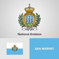 Emblema nazionale, mappa e bandiera di San Marino