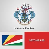 Emblema nazionale delle Seychelles, mappa e bandiera