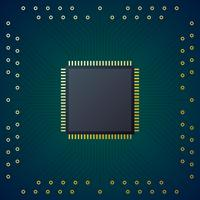 Printed Circuit Board With Chip CPU Processor Vector Background