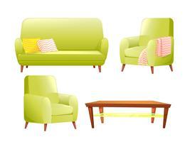 Set di design di mobili. Divano moderno e sedie con una coperta, cuscini e accanto a un tavolino in legno. Illustrazione di cartone animato vettoriale