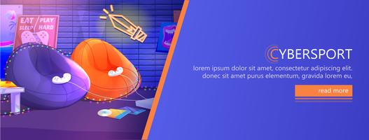 ESports banner. Workplace cyber sportsman gamer. Play video games on the console. Vector cartoon illustration