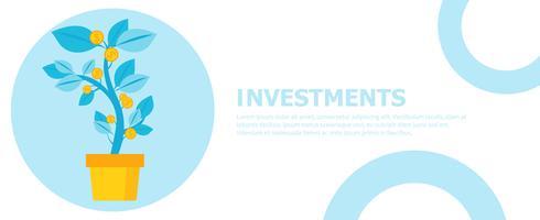 Investment banner. Pengar träd i en kruka. Hemväxter. Vektor platt illustration