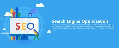 Banner Seo. Lavora sul contenuto del sito e sulla sua indicizzazione dei motori di ricerca. Lavoro di gruppo sul sito web. Illustrazione piatta vettoriale