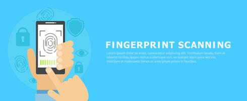 Banner vingerafdruk scannen. Platte vectorillustratie
