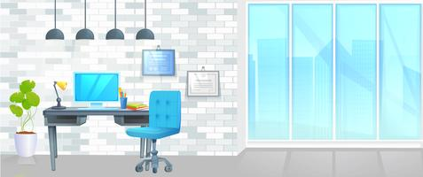Banner de diseño de mobiliario de oficina. Lugar de trabajo con mesa y ordenador portátil y café. Interior moderno Ilustración de dibujos animados de concepto de página web de vector de aterrizaje