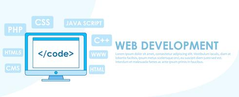 Web development banner. Computer with window A computer with a browser window. Studying different programming languages.Vector flat line ilustration