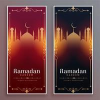 banners verticais de luxo estilo ramadan kareem