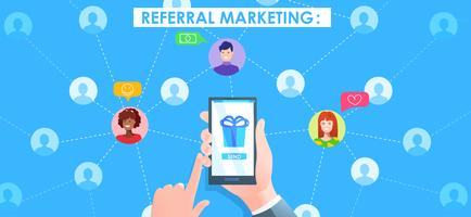 Referral marketing banner. Hand with phone and users avatat. Vector cartoon illustration