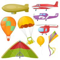Set of flying trancport - helicopter, aeroplan. Vector Realistic Illustration