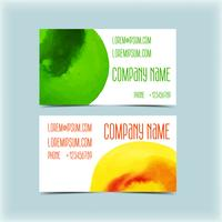 business card design template with watercolor background