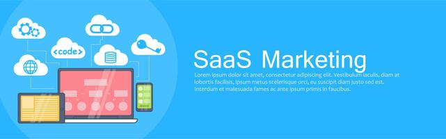 SaaS-marketingbanner. Laptop, tablet en telefoon, cloudopslag met pictogrammen. Vector vlakke afbeelding