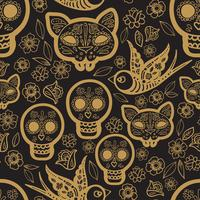 Modello senza cuciture oro Day of the Dead
