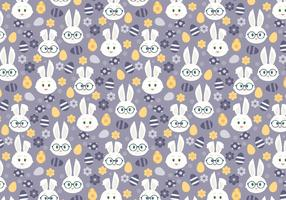 Vector Seamless Pattern with Cute Easter Bunnies