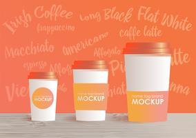 Tamanhos e tipo diferentes de modelo do copo de café. Fundo gradiente. Conceito realista de vetor