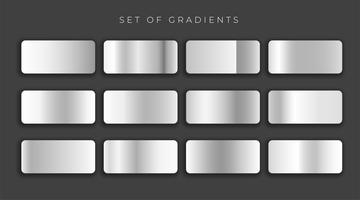 Silver metallic gray gradients set